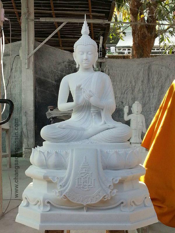พระพุทธรูป(แกะสลักหินขาว)ปางปฐมเทศนา