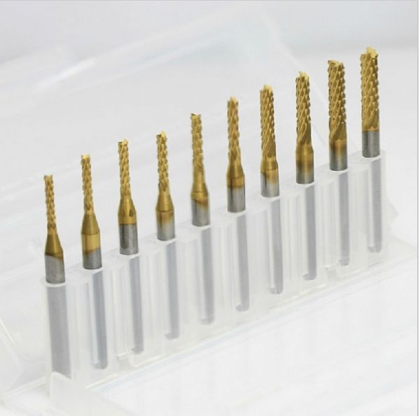 10 Titanium Coat Carbide 1.5mm-3.175mm End Mill Engraving Bits CNC Rotary Burrs Set