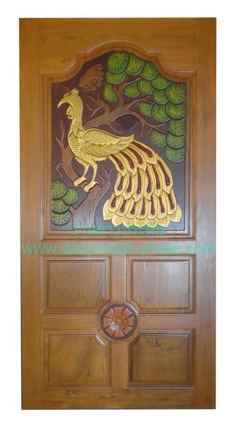 ประตูไม้สัก นกยูง