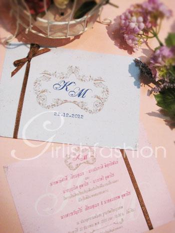 การ์ด: การ์ดแต่งงาน Floral of Vintage Wedding Card :การ์ดแต่งงานสไตล์วินเทจ พร้อมโลโก้ดอกไม้
