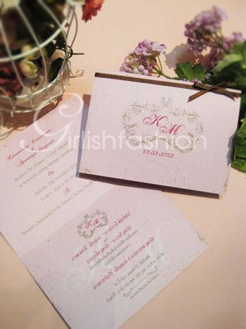 การ์ด: การ์ดแต่งงานแบบพับ Floral of Vintage Wedding Card :การ์ดแต่งงานสไตล์วินเทจ พร้อมโลโก้ดอกไม้