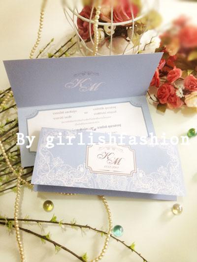 การ์ดพับ: การ์ดแต่งงานพับ Elegant Romantica Wedding Cards :การ์ดแต่งงานพับลายลูกไม้สีฟ้าคลาสสิก