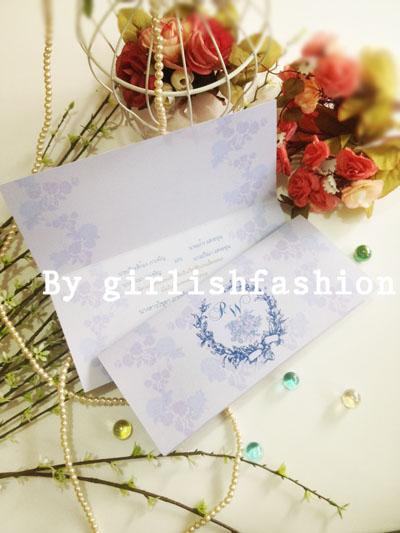 การ์ดพับ: การ์ดแต่งงานพับ Vintage Rose Passion :การ์ดแต่งงานพับลายกุหลาบสีฟ้าคลาสสิก
