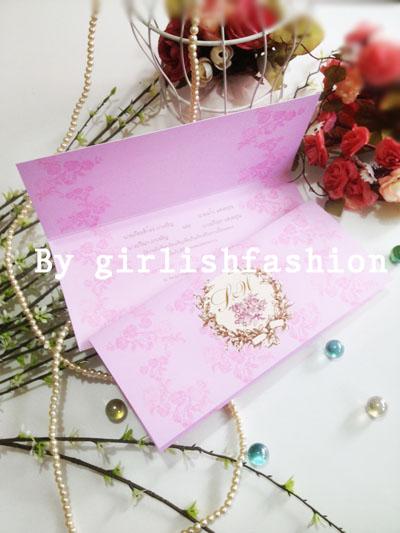 การ์ดพับ: การ์ดแต่งงานพับ Vintage Rose Passion :การ์ดแต่งงานพับลายกุหลาบสีชมพู