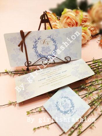 การ์ด: การ์ดแต่งงาน Vintage Rose Passion :การ์ดแต่งงานลายกุหลาบสีฟ้าคลาสสิก