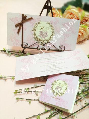 การ์ด: การ์ดแต่งงาน Vintage Rose Passion :การ์ดแต่งงานลายกุหลาบสีชมพูคลาสสิก