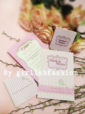 การ์ด: การ์ดแต่งงาน Love is all around :การ์ดแต่งงานลายริ้วสุดน่ารักสีชมพูพาสเทล