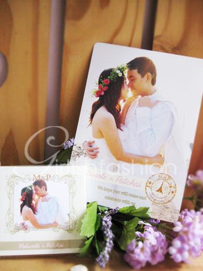 การ์ด: การ์ดแต่งงาน Sweet Heart :การ์ดแต่งงานรูปสไตล์วินเทจ ด้านหลังกรอบหลุยส์