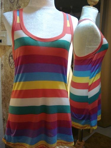 ฟอร์เอฟเวอร์21 เสื้อกล้ามตัวยาวสีรุ้ง Rainbow Stripe Racerback Tank  S M