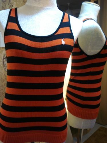 ราล์ฟลอเรน เสื้อกล้ามไหมพรมลายขวางสีสด Bright Color Bodyfit Tank size L