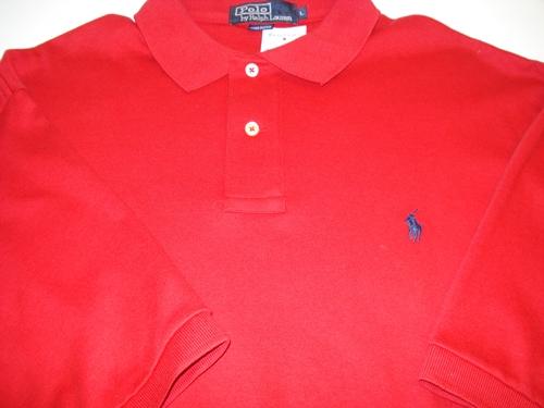 โปโล ราล์ฟลอเรน เสื้อยืดคอโปโลสีแดง Red Polo shirt  size L