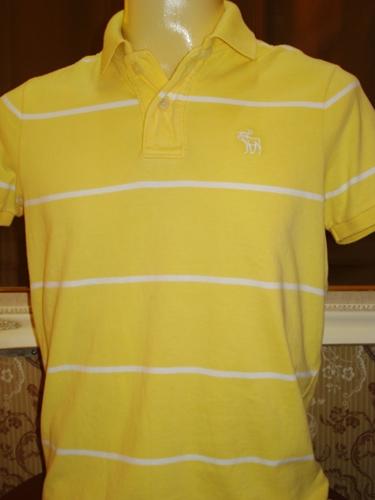 เอเบอร์ครอมบี้ แอนด์ ฟิทช์ เสื้อคอโปโลลายเหลืองขาว / Yellow Collar' Yellow White Stripes Polo-shirt  size M