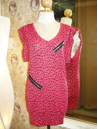 แชปส์ เดรสยืดลายเสือสีแดง / Red Cheetah Dress