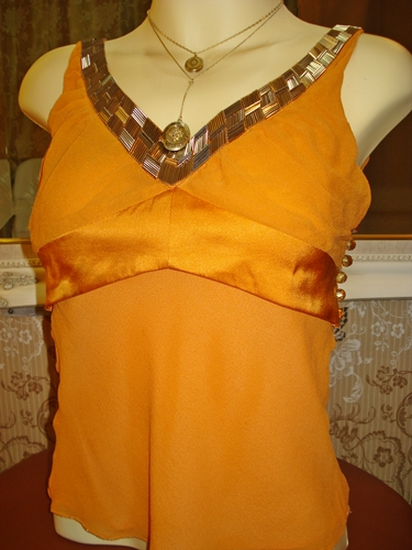 มาร์คจาคอบส์ เสื้อสีส้มสดแต่งเลื่อมหรู Dazzling Sequin Blouse  size S