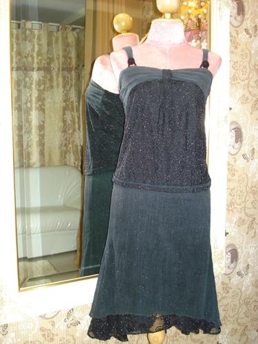 ชาแนล เดรสแซคสายเดี่ยวสีดำผ้าย่นตาข่ายยืดวับวิบ Black Magic Dress  size S