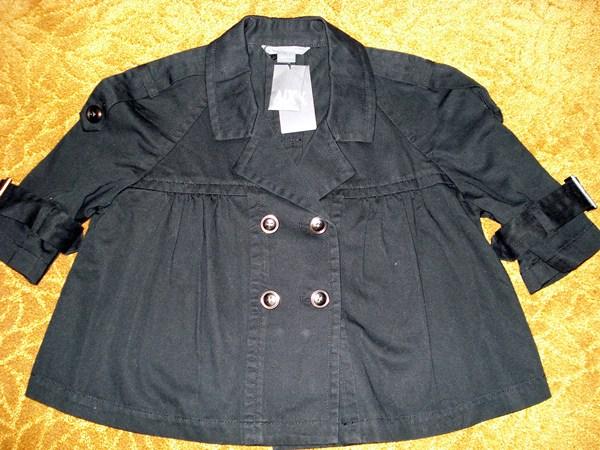 อาร์มานี เสื้อคลุมผ้าคอตต้อนยีนส์สีดำ  AX Black Pea Jacket  size L