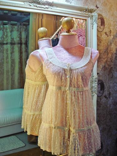 คริสเตียน ลาครัวซ์ เสื้อตัวยาว ลูกไม้โปร่งสีครีมสวยหรู Florals Lace Ruffle Tunic size M