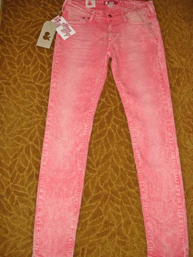 เอชแอนด์เอ็ม ยีนส์ขาเดฟสีชมพู /Pink Special Fit Sqin Waist Low  size 30