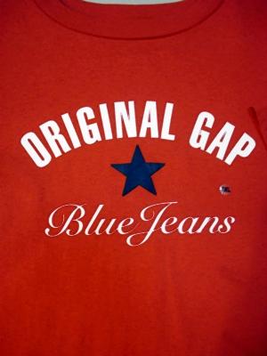 แก๊ป เสื้อยืดสีแดง สกรีนตัวหนังสือและชื่อยี่ห้อ  Blue Jeans Original Gap  size XXl