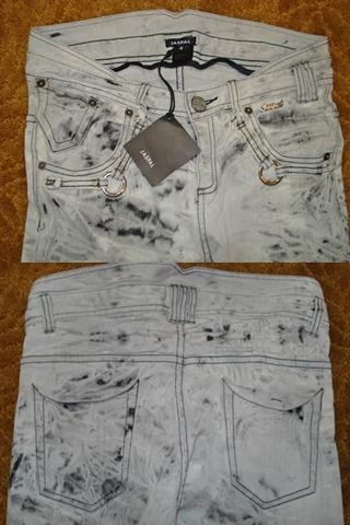 จัสปาล ยีนส์ขาเดฟสีหมอกเทา ลายขยุ้มย้อมสีเซอๆ แต่งกระเป๋าติดห่วง เอวหลังสูง /Black Tinted Bundle Jeans size XS