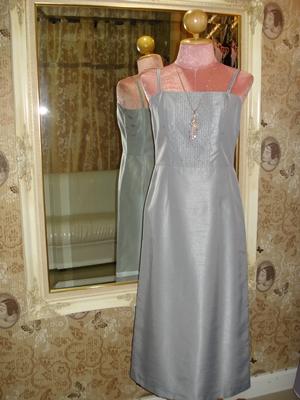 เดรสใส่ออกงาน เดรสสายเดี่ยว ผ้าไหมเทียมสีเทา ตีเกล็ดปักเลื่อม / Sequin Lamina Dress size S