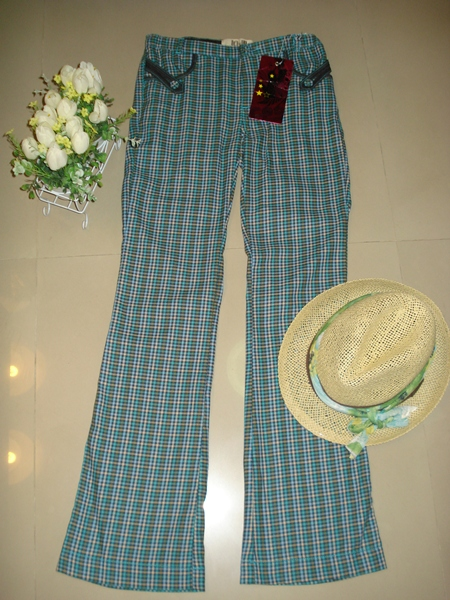 แชปส์ กา่งเกงขายาวลายสก๊อตเขียว แต่งกระเป๋าหน้าหลัง size 10 (เอว 26