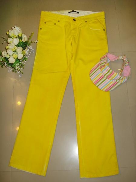 แชปส์ กา่งเกงขายาวผ้ายีนส์ฟอกสีเหลือง รุ่น craftwork กระเป๋าหลังซิป size L