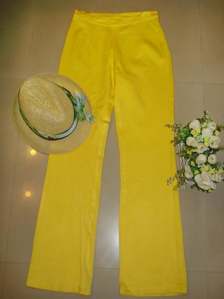 มิส แอนด์ ชี กางเกงยืดขายาว ผ้ายืดสีเหลืองเนื้อดีจากญี่ปุ่น ทรงสวยใส่สบาย size S