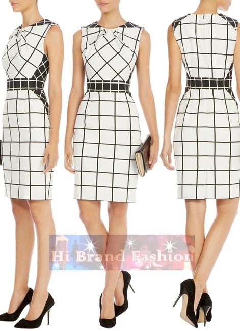 คาเรน มิลเลน เดรสสาว CEO working woman ผ้า ponte เนื้อบางแน่นลื่นลายตารางสีขาวดำ ตัดต่อลายสีผ้าจับเดรปดูมีมิติซับซ้อน ให้ลุคสาวเก่งมาดมั่นน่าสนใจ DR224 Graphic Check Dress size uk14