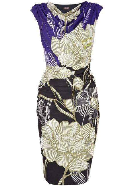 เฟส เอท/โคสท์ เดรสผ้าเจอร์ซี่สีน้ำเงินพิมพ์ลายดอกไม้ใหญ่ คอปาดถ่วงแขนกุด ตัดต่อผ้าคอตต้อนลื่น จับเดรปข้างเอวซ้ายขวา Hermione Dress  UK10 UK12 uk14