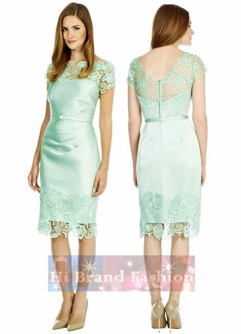 โคสท์ เดรสใส่ออกงานแขนสั้น ผ้าซาตินสีเขียวมิ้นท์สดใส แต่งลูกไม้ใหญ่โครเชท์รอบคอและชายกระโปรง ชุดยาวคลุมเข่า แถมเข็มขัดด้วยค่ะ  Luma Duchess Green Mint Satin Dress มาใหม่พร้อมส่ง 4 ไซส์ uk8 uk10 uk12 และ uk14