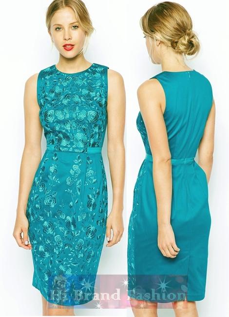 เอซอส/โคสท์ เดรสหรูออกงานแขนกุด ผ้าซาตินสีเขียวเทอร์ควอยซ์ปักลายดอกไม้ด้านหน้าอย่างประณีต สีสวยงานเนี๊ยบเป๊ะค่ะ 14129 Premium Wiggle Dress with Green Floral Embroidery Dress พร้อมส่งครบ 5 ไซส์ค่ะ