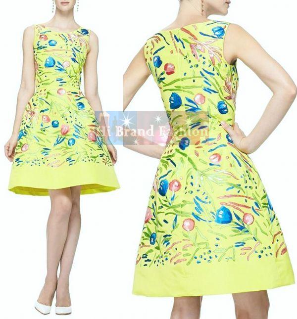 ออสการ์ เดอ ลา เรนต้า เดรสใส่ออกงานแขนกุด ทรง A ผ้าเครปซาตินสีเหลืองมะนาวพิมพ์ลายวาดรูปดอกไม้หลายสี ใส่ไปปาร์ตี้ร่าเริงสดใส KC892 Floral Print Lime Yellow Dress พร้อมส่งครบ 5 ไซส์ค่ะ