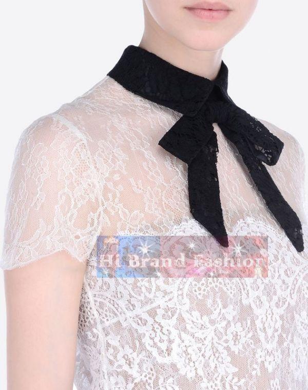 วาเลนติโน่ เดรสหรูออกงานแขนสั้น ผ้าลูกไม้โปร่งซีทรูตัดต่อลายดอกไม้สีขาวกับสีดำ มีปกแต่งโบว์ พร้อมชุดซับในสายเดี่ยว  Black & White Heavy Lace Dress พร้อมส่ง 3 ไซส์ค่ะ uk8 uk10 และ uk12