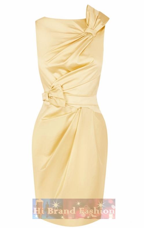 คาเรน มิลเลน เดรสใส่ออกงาน ผ้าซาตินสีเหลืองนวล จับเดรปโบว์แต่งไหล่และเอว ใส่ไปปาร์ตี้ดินเนอร์นะน่ารักดี DQ266 Cute Colourful Yellow Mini Dress พร้อมส่ง 2 ไซส์ค่ะ uk8 กับ uk10