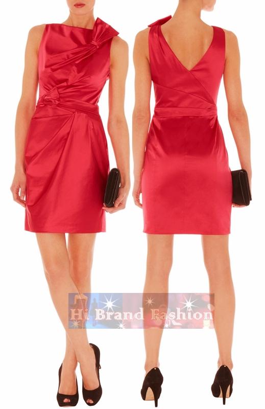 คาเรน มิลเลน เดรสหรูออกงาน ผ้าซาตินสีแดง จับเดรปโบว์แต่งไหล่และเอว ใส่ไปปาร์ตี้ดินเนอร์นะน่ารักดี DQ266 Cute Colourful Red Hot Mini Dress พร้อมส่งครบ 5 ไซส์ค่ะ
