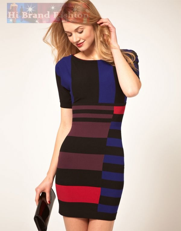 คาเรน มิลเลน เดรสสั้นผ้า knit ยืดเนื้อนุ่ม ลายบล็อกสีโทนเข้ม  แขนค้างคาว KN054 Blue Stripe knit dress พร้อมส่ง 3 ไซส์ค่ะ uk10 uk12 และ uk14