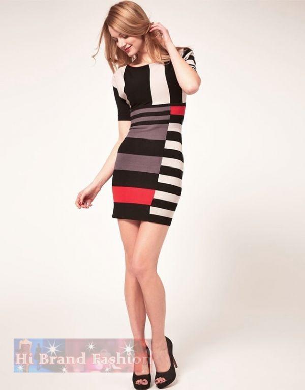 คาเรน มิลเลน เดรสผ้า knit ยืดเนื้อนุ่ม ลายบล็อกสีโทนอ่อน  แขนค้างคาว Multi Color Stripe knit dress พร้อมส่ง 3 ไซส์ค่ะ uk10 uk12 และ uk14