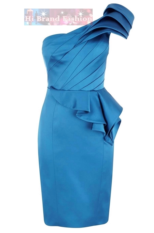 คาเรน มิลเลน เดรสใส่ออกงาน ชุดราตรีไหล่เดี่ยว ผ้าซาตินสีฟ้าสดใส จับจีบเดรปหรูหรา DP317  Limited Edition Blue Signature Stretch Peplum Dress พร้อมส่ง 3 ไซส์ค่ะ  uk8 uk12 และ uk16