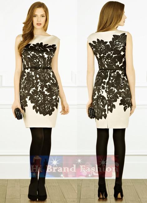 โคสท์ เดรสแขนกุด ผ้าแพรเนื้อเนียนลื่นสีครีมพิมพ์ดอกไม้ใหญ่สีดำเต็มตัวพร้อมปักเลื่อมกระจาย แถมเข็มขัด Artem Duchess Satin Dress  uk8  uk14