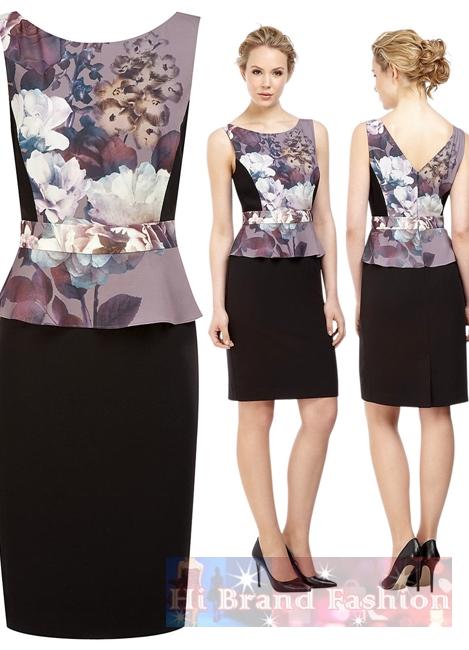 คาลิโค / โคสท์ เดรสผ้าซาตินสีดำตัดต่อผ้าแพรเนื้อเงาพิมพ์รูปดอกไม้วินเทจ เอว peplum หลัง V สวยหวานมากค่ะ Camelia Print Dress Black มีพร้อมส่งไซส์ uk8