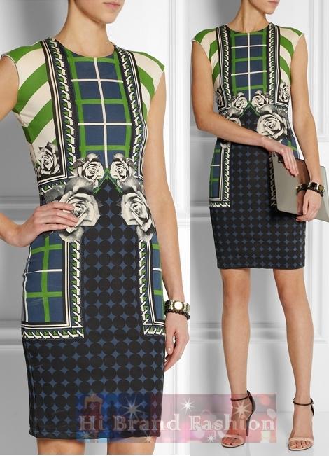 เอ็มม่า คุ๊ก /คาเรน มิลเลน เดรสใส่ออกงานแขนกุด ผ้าเนื้อบางมันลื่นพิมพ์ลายกราฟฟิคเขียวดำกับดอกกุหลาบนู้ด  Green Abbie Printed Dress  uk10 uk12