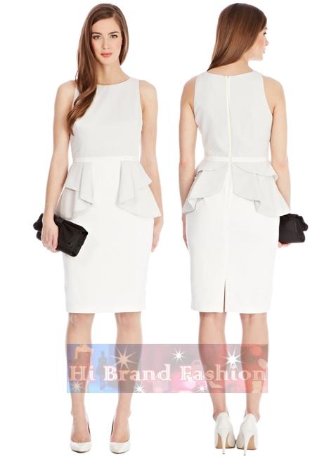 โคสท์ เดรสใส่ออกงานแขนกุด ผ้าชีฟองเนื้อบางเบาสีขาวตัดต่อกระโปรงผ้าเนื้อเนียนลื่นมันเงา แต่งระบายคลุมรอบเอว KA516 White Ana Peplum Dress พร้อมส่ง uk8