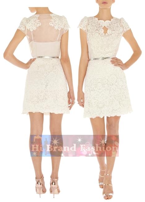 คาเรน มิลเลน เดรสใส่ออกงานแขนสั้น ผ้าลูกไม้ตาข่ายลายดอกไม้สีขาว พร้อมเข็มขัด นำมาเพิ่มให้ใส่น่ารักๆ กันอีกค่ะ DM9766 White Lace Dress พร้อมส่ง size uk8