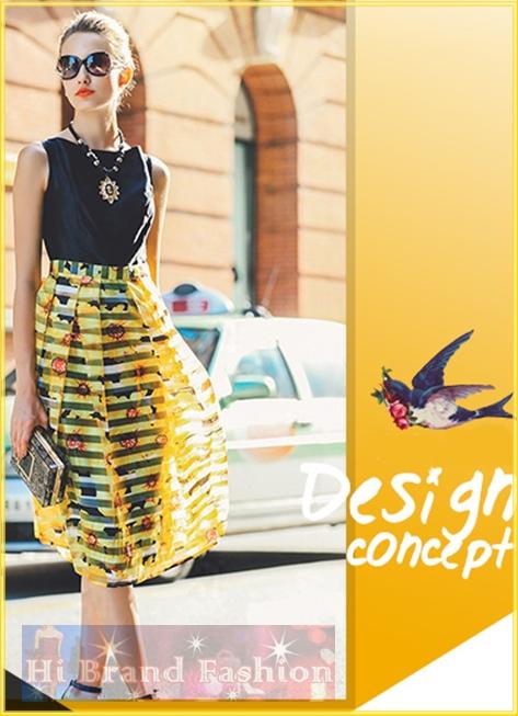 เดรสหรูใส่ออกงานแขนกุด ผ้าไหมเทียมสีดำตัดต่อจับจีบกระโปรงผ้าแก้วลายขวางสีเหลืองพิมพ์ลายดอกไม้แดง กระโปรงยาวปล่อยบานทับซับในสีดำ สวยได้อย่างมั่นใจค่ะ Black Yellow Organza Midi Dress พร้อมส่ง 3 ไซส์ค่ะ S M และ XXL