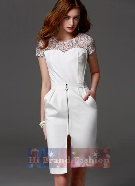 เดรสใส่ออกงานแขนสั้น ผ้าลูกไม้ตาข่ายโปร่งซีทรูตัดต่อผ้าเครปจอร์เจียสีขาว ขอบเอวจีบหน้าโชว์ซิป มีกระเป๋าล้วง ์New Lace Embroidered Stitching White Dress พร้อมส่ง 3 ไซส์ S M L
