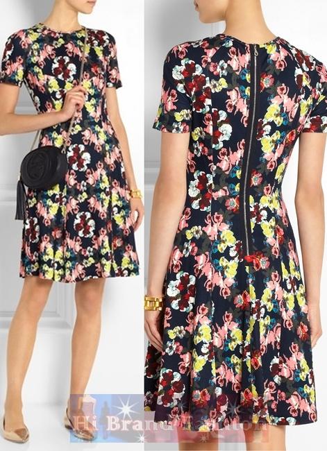 เออร์เดม/คาเรน มิลเลน เดรสใส่ออกงานแขนสั้น ผ้าแพรเนื้อลื่นสีดำพิมพ์รูปดอกไม้วาดหลากสีสัน โชว์ซิปทองกลางหลัง กระโปรงบานสไตล์ย้อนยุค 9182 Armel Floral Print Stretch Dress พร้อมส่งครบทุกไซส์ค่ะ