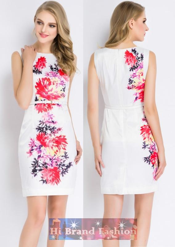 เดรสผ้าลื่นสีขาวพิมพ์ลายดอกไม้ใหญ่สีสดสวย แถมเข็มขัดด้วยค่ะ 5 ไซส์