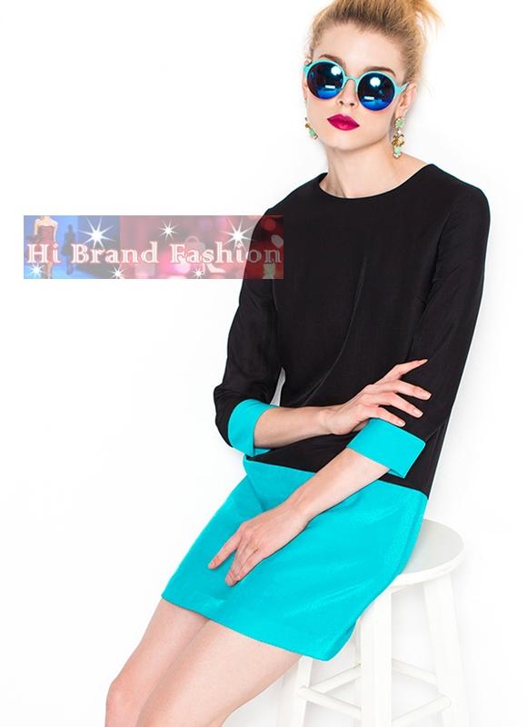 เดรสสาว CEO working woman สีดำตัดสีฟ้าสด แบบเรียบแอบเก๋ดูดี M XL XXL