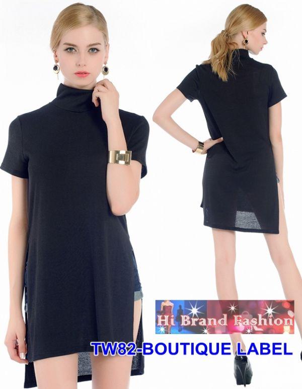 เสื้อยืดตัวยาวแขนสั้นสีดำ คอเต่า ทรงหลวม หน้าสั้นหลังยาว สุดชิค  M XL